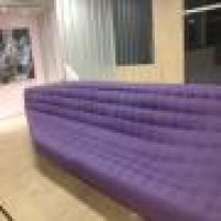Custom Sofa Purple Maharam Messenger Fabric Beautiful Tufting Elegant Very Large Banquette Upholstery Nyc Sofa Custom Made Quiltingsof