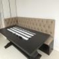 Joyce Silverman Design New Custom Banquette Black Lacquer Lacquer Lacqer Base Leather Diamond Tufted Banquette